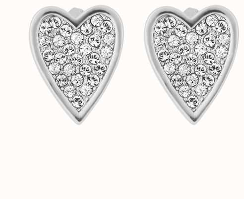 Adore By Swarovski Pointed Heart Earrings Rhodium Plated 5303088