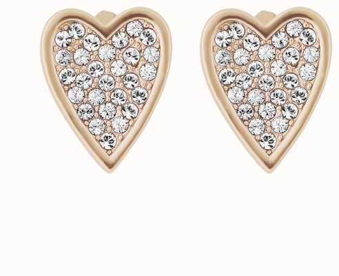 Adore By Swarovski Pointed Heart Earrings Rose Gold Plated 5303090