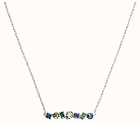 """Adore By Swarovski Mixed Crystal Bar Necklace 16-18"""" Rhodium Plated 5375513"""