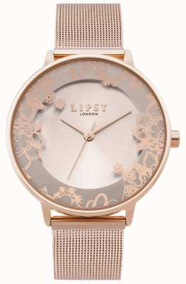 Lipsy | Womens Rose Gold Mesh Bracelet | Rose Gold Dial | LP646
