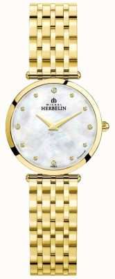 Michel Herbelin Womens Epsilon Gold Plated Mother Of Pearl Dial 17116/BP89
