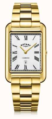 Rotary   Gents Gold Plated Bracelet   White Dial   GB05283/01