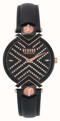 Versus Versace | Ladies Black Leather Strap | Patterned Dial | VSPLH1519