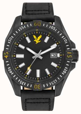 Lyle & Scott Mens Tactical Black Leather Strap Black Dial LS-6017-03