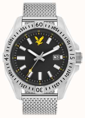 Lyle & Scott Mens Tactical Stainless Steel Mesh Bracelet Black Dial LS-6017-11