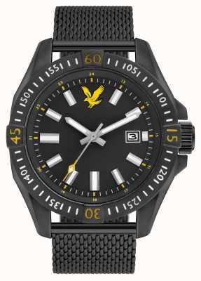 Lyle & Scott Mens Tactical Black PVD Plated Mesh Bracelet Black Dial LS-6017-22