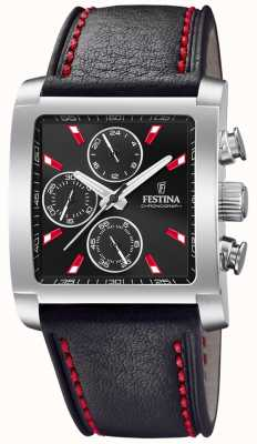 Festina | Mens Stainless Steel Leather Chronograph | Black Dial | F20424/8