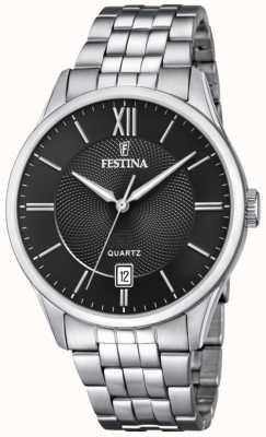 Festina   Mens Stainless Steel Bracelet   Black Dial   F20425/3