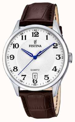 Festina Mens Stainless Steel   Brown Leather Strap   Silver Dial   F20426/1