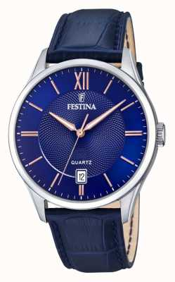 Festina | Mens Stainless Steel | Blue/Rose Dial | BlueLeather | F20426/5