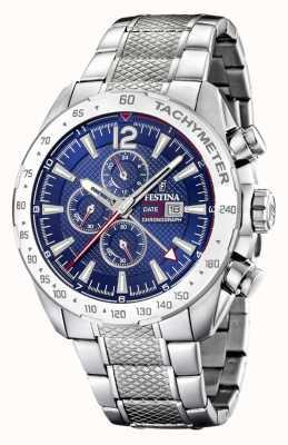 Festina   Mens Chronograph & Dual Time   Blue Dial   Steel Bracelet F20439/2