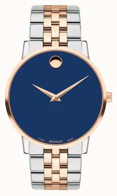 Movado Mens Museum Two Tone Stainless Steel Bracelet Blue Dial 0607267