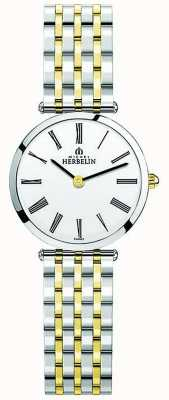 Michel Herbelin Womens Epsilon Two Tone Stainless Steel White Dial 17116/BT01N