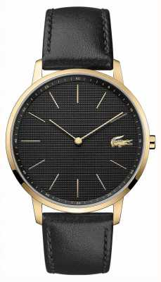 Lacoste | Mens Moon | Black Leather Strap | Black Dial | 2011004