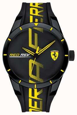 Scuderia Ferrari | Mens Redrev | Black Rubber Strap | Black Dial | 0830615