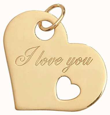 Treasure House 9k Yellow Gold 'I Love You' Heart Pendant PN039