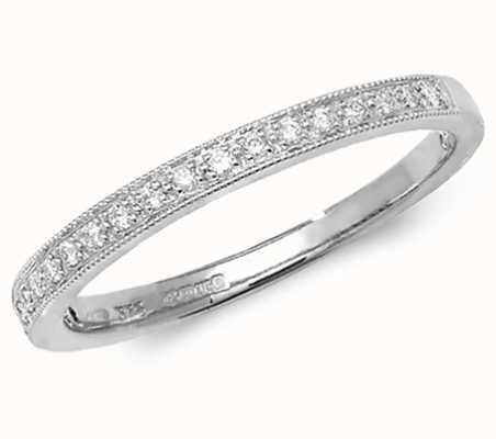 James Moore TH 9k White Gold Diamond Eternity Grain Set Ring RD388W/N
