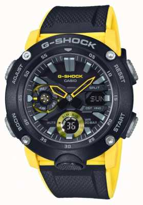 Casio   G-shock Carbon Core Guard   Black Yellow Strap   GA-2000-1A9ER