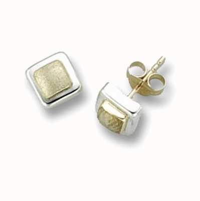Treasure House 9k Yellow and White Gold Square Stud Earrings ES260S