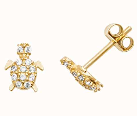 James Moore TH 9k Yellow Gold Cubic Zirconia Turtle Stud Earrings ES599