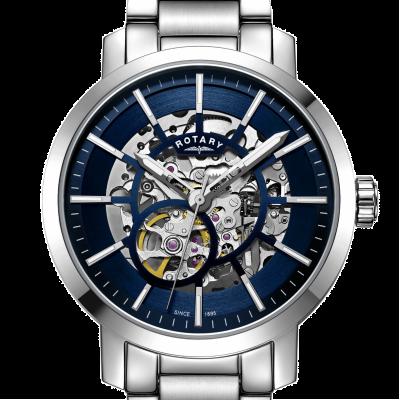Rotary   Mens Greenwich Skeleton   Stainless Steel Bracelet   GB05350/05