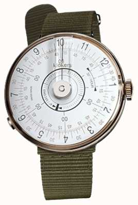 Klokers KLOK 08 White Watch Head Lichen Green Textile Single Strap KLOK-08-D1+KLINK-03-MC2