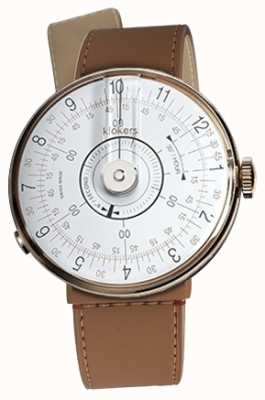 Klokers KLOK 08 White Watch Head Caramel Brown Strait Single Strap KLOK-08-D1+KLINK-04-LC12