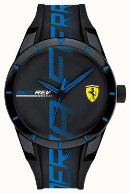 Scuderia Ferrari | Men's Redrev | BlackBlue Silicone Strap | Black Dial | 0830616
