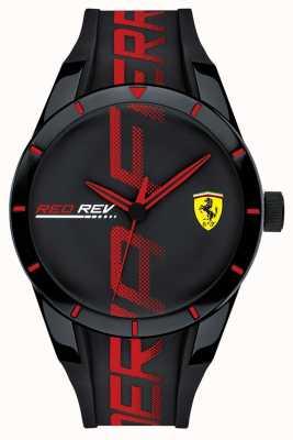 Scuderia Ferrari | Men's Redrev | Black/Red Silicone Strap | Black Dial | 0830614