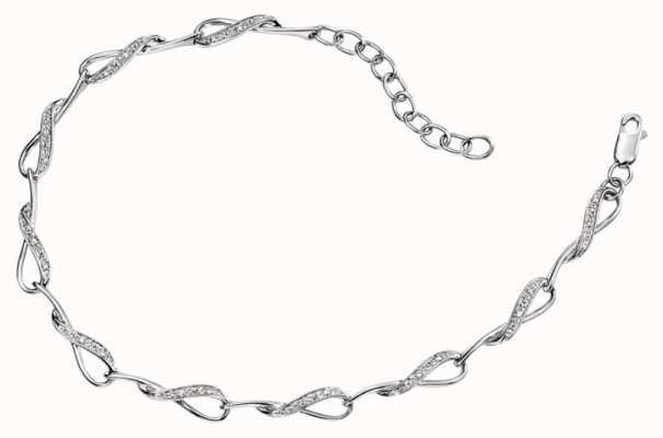 Elements Gold 9ct White Gold Loop Diamond Pave Set Bracelet GB390