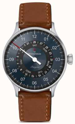 MeisterSinger Pangaea Day Date Brown Leather Strap Blue Dial PDD9Z17B