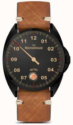 MeisterSinger Metris - Black Line Brown Leather Strap Black Dial ME902BL