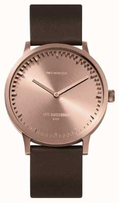 Leff Amsterdam | Tube Watch | T40 | Rose Gold | Brown Leather Strap | LT75424