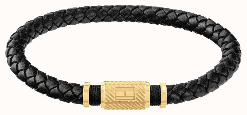 Tommy Hilfiger | Mens Black Braided Leather Bracelet | Gold Clasp | 2790082