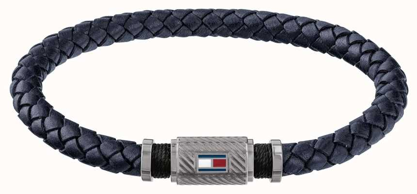 Tommy Hilfiger Mens Gun Metal Tube Magnet Blue Braided Leather Bracelet 2790083