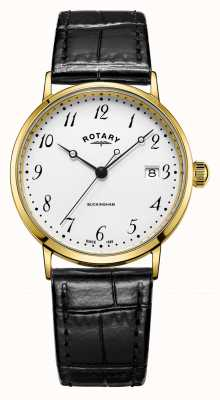Rotary Mens 9ct Gold Case Buckingham Watch GS11476/18