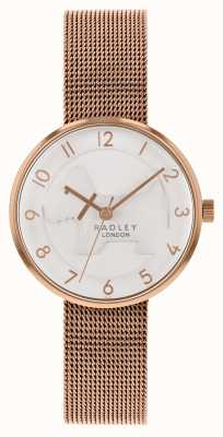 Radley | Womens Rose Gold Mesh Bracelet | White Embossed Dog Dial | RY4392