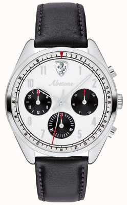 Scuderia Ferrari Mens Abetone Black Leather Strap Watch White Dial 0830569