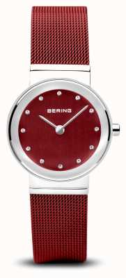 Bering Womens   Classic   Red PVD Steel Mesh Bracelet 10126-303