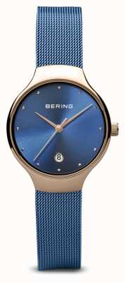 Bering Womens | Classic | Blue PVD Plated Blue Mesh Bracelet 13326-368