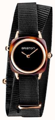 Briston | Clubmaster Lady | Single Black Nato Strap | Tortoise Shell 19924.PRA.T.1.NB