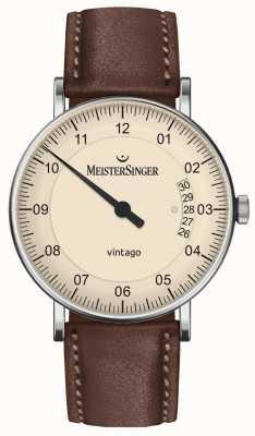 MeisterSinger | Mens Vintago | Automatic | Brown Leather | Cream Dial | | VT903