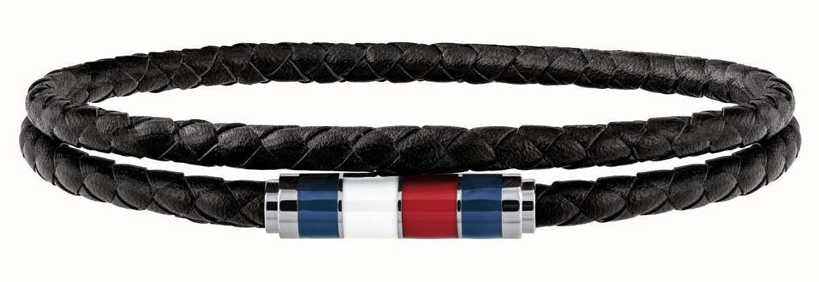 Tommy Hilfiger Mens Black Leather Double Wrap Bracelet 40cm Approx 2790056