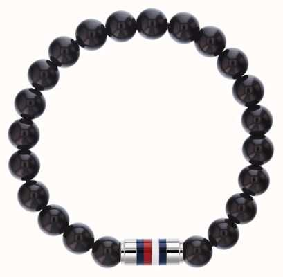 Tommy Hilfiger Mens Black Onyx Beaded Bracelet 2790068