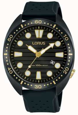 Lorus | Mens Sports Watch | Black Rubber Strap | Black Dial | RH927LX9