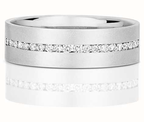 James Moore TH 9k White Gold Mens Half Eternity Diamond Channel Ring RD718W
