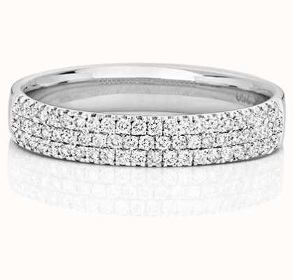 James Moore TH 18k White Gold 3 Row Diamond Ring RDQ730W