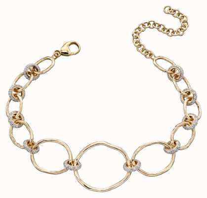 Elements Gold 9k Yellow Gold Hammered Diamond Connector Bracelet 17-22cm GB477