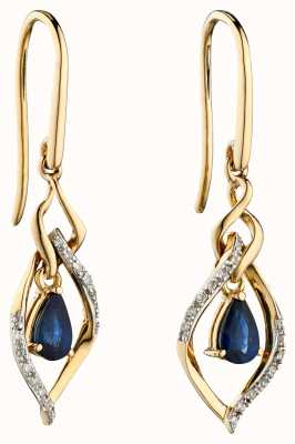 Elements Gold 9k Yellow Gold Sapphire And Marquis Diamond Drop Earrings GE2274L