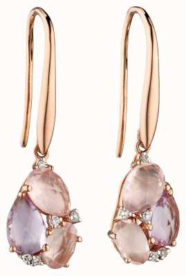 Elements Gold 9k Rose Gold Amethyst And Rose Quartz Drop Earrings GE2276